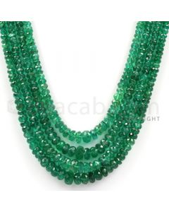 4 Lines - Medium Green Emerald Faceted Beads - 168.44 cts - 2.4 to 6 mm (EMFB1036)