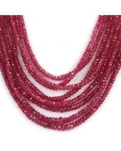 8 Lines - Medium Red Faceted Ruby Beads - 265.20 - 2 to 3.5 mm (RFB1101)
