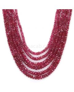 Medium Red Faceted Ruby Beads - 6 Lines - 180.94 - 2 to 4.8 mm (RFB1092)