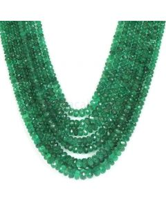 8 Lines - Medium Green Emerald Faceted Beads - 324.50 - 2.4 to 6 mm (EMFB1048)