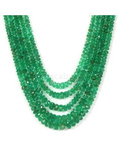 5 Lines - Medium Green Emerald Faceted Beads - 123.50 - 2.2 to 5.5 mm (EMFB1050)
