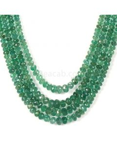 4 Lines - Medium Green Emerald Faceted Beads - 183.00 - 2.2 to 6.2 mm (EMFB1090)
