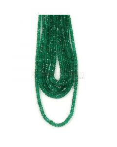 6 Lines - Dark Green Emerald Faceted Beads - 164.25 - 2.6 to 4.1 mm (EMFB1068)