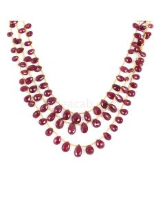 3 Lines - Medium Red Ruby Faceted Drops - 113.25 cts - 3.8 x 5.3 mm to 6.3 x 10.8 mm (RDR1062)
