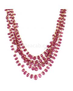 5 Lines - Medium Red Ruby Faceted Drops - 212.00 cts - 3.9 x 5.3 mm to 7.5 x 11.9 mm (RDR1060)