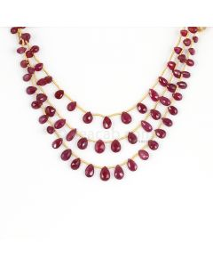 3 Lines - Medium Red Ruby Faceted Drops - 66.90 cts - 4 x 6 mm to 3.5 x 8.8 mm  (RDR1064)