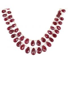 1 Line - Dark Red Ruby Faceted Drops - 70.50 cts - 4.5 x 7.2 mm to 7 x 11.8 mm (RDR1055)