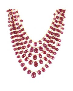 5 Lines - Medium Red Ruby Faceted Drops - 204.10 cts - 4.5 x 6.2 mm to 8.2 x 12.2 mm (RDR1049)