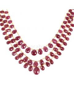 2 Lines - Medium Red Ruby Faceted Drops - 132.90 cts - 3.8 x 6 mm to 10 x 13.2 mm (RDR1054)