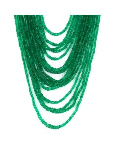 17 Lines - Medium Green Emerald Faceted Beads - 757.00 cts - 2.2 to 6.4 mm (EMFB1109)