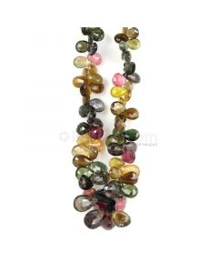 1 Line - Medium Tones Multi-Tourmaline Faceted Drops - 261.24 cts - 6.7 x 3 mm to 13.6 x 6.5 mm (MTFD1176)