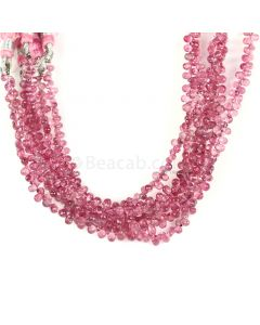 6 Lines - Medium Pink Tourmaline Faceted Drops - 208.50 cts - 5.1 x 3.2 mm to 5.5 x 3.5 mm (TFD1210)