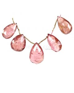 5 Pieces - Light Pink Tourmaline Faceted Drops - 50.50 cts - 17 x 10 x 6.7 mm to 20 x 13 x 7 mm (TFD1276)