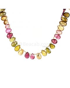 1 Line - Medium Tones Multi-Tourmaline Faceted Drops - 95.50 cts - 10.5 x 8.5 mm to 14 x 8.9 mm (MTFD1201)