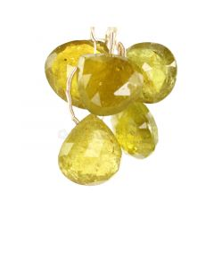 5 Pieces - Yellow Tourmaline Faceted Drops - 60.00 cts - 14.5 x 13 x 8 mm to 15 x 16 x 7.9 mm (TFD1284)