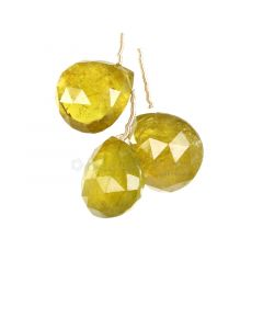 3 Pieces - Yellow Tourmaline Faceted Drops - 62.00 cts - 17 x 15.7 x 10 mm to 17.3 x 16.4 x 11.5 mm (TFD1285)