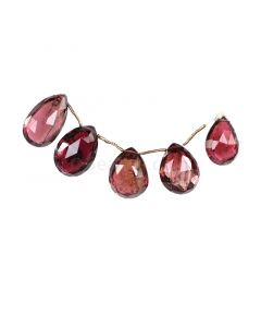 5 Pieces - Dark Purple Tourmaline Faceted Drops - 82.00 cts - 16.5 x 12 x 9 mm to 17.5 x 13.5 x 11 mm (TFD1281)