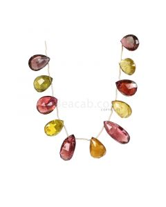 1 Line - Medium Tones Multi-Tourmaline Faceted Drops - 96.50 cts - 14.5 x 10.7 mm to 10.7 x 9.6 mm (MTFD1190)