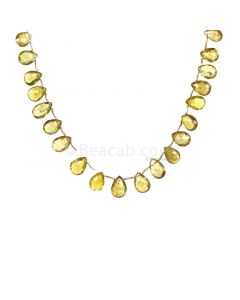 1 Line - Yellow Tourmaline Faceted Drops - 66.65 cts - 10.1 x 7.7 mm to 12.4 x 8.5 mm (TFD1232)