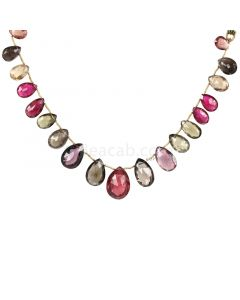 1 Line - Medium Tones Multi-Tourmaline Faceted Drops - 109.00 cts - 10.8 x 6 mm to 19 x 14 mm (MTFD1194)