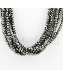 3.20 to 4.40 mm - Black Diamond Faceted Beads - 355.56 carats - 15 inches (BDia1008)