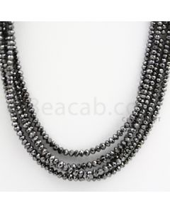2.00 to 3.00 mm - Black Diamond Faceted Beads - 110.88 carats - 15 inches (BDia1009)