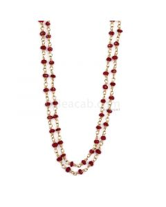 1 Line - Red Ruby Faceted Beads & Gold Necklace - 44.84 cts - 2.2 to 3 mm (GWWCS1202)