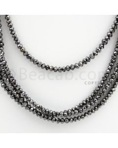 2.00 to 3.00 mm - Black Diamond Faceted Beads - 90.15 carats - 15 inches (BDia1010)
