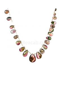 1 Line - Watermelon (Bi-Color) Tourmaline Faceted Drops - 52.00 cts - 6.7 x 5.2 mm to 15.6 x 11.6 mm (TFD1294)
