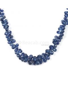1 Line - Dark Blue Sapphire Faceted Drops - 101.50 cts - 3.5 x 2.4 mm to 6.3 x 4 mm (SDR1031)
