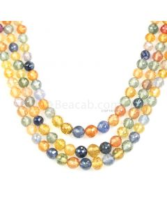 3 Lines - Medium Tones Multi Sapphire Faceted Drops - 175.70 cts - 2.8 mm to 5.2 mm (MSFD1048)