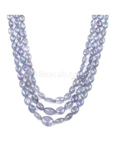 3 Lines - Violet Tanzanite Tumbled Beads - 312.60 cts - 6 x 5.6 mm to 12.6 x 10.2 mm (TZTUB1024)