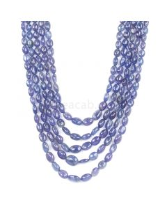 5 Lines - Violet Tanzanite Tumbled Beads - 535.45 cts - 5.8 x 3.9 mm to 12.3 x 10 mm (TZTUB1019)