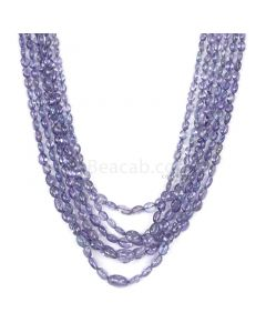 6 Lines - Violet Tanzanite Tumbled Beads - 265.00 cts - 3.9 x 2.8 mm to 9.2 x 7.1 mm (TZTUB1042)