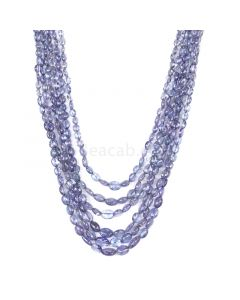 6 Lines - Violet Tanzanite Tumbled Beads - 287.20 cts - 3.5 x 2.9 mm to 7.4 x 4.5 mm (TZTUB1043)