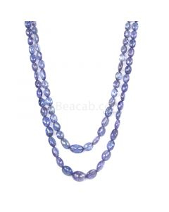 2 Lines - Violet Tanzanite Tumbled Beads - 170.00 cts - 4.5 x 3.4 mm to 10.5 x 8.1 mm (TZTUB1033)