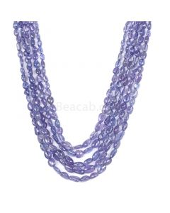 5 Lines - Violet Tanzanite Tumbled Beads - 358.25 cts - 5 x 3.7 mm to 8.3 x 6.1 mm (TZTUB1041)