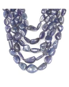5 Lines - Violet Tanzanite Tumbled Beads - 1907.50 cts - 8.9 x 5.8 mm to 23.1 x 18.2 mm (TZTUB1065)