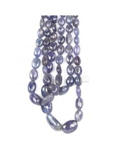 3 Lines - Violet Tanzanite Tumbled Beads - 546.52 cts - 7.8 x 5.5 mm to 20.9 x 12.3 mm (TZTUB1077)