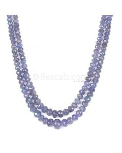 2 Lines - Violet Tanzanite Faceted Beads - 212.57 cts - 3.3 to 9.1 mm (TZFB1020)
