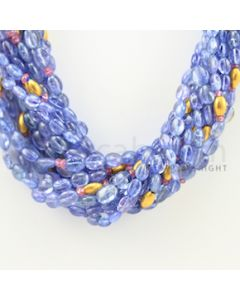 5.00 to 7.00 mm - 14 Lines - Tanzanite, Pink Tourmaline Tumbled Beads - 17 inches (CSNKL1034)