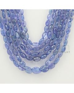 5.00 to 8.00 mm - 6 Lines - Tanzanite Tumbled Beads - 16 to 22 inches (TzTuB1001)