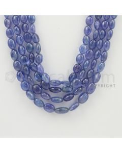 7.00 to 12.00 mm - 4 Lines - Tanzanite Tumbled Beads - 18 to 21 inches (TzTuB1003)