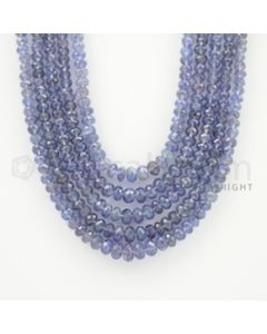 3.50 to 7.00 mm - 5 Lines - Tanzanite Faceted Beads - 17 to 20 inches (TzFB1011)