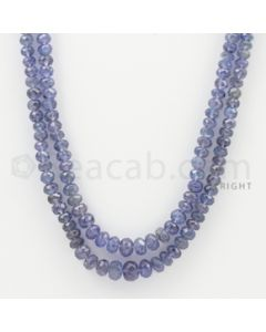 3.50 to 7.50 mm - 2 Lines - Tanzanite Faceted Beads - 20 to 21 inches (TzFB1015)