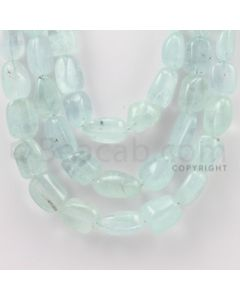 10.00 to 20.00 mm - Aquamarine Tumbled Beads - 1009.75 Carats - 3 Lines (AqTuB1020)