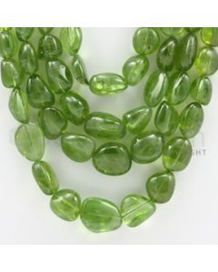 5.50 to 16.50 mm - 4 Lines - Peridot Smooth Tumbled Beads - 18 to 22 inches (PSTu1002)