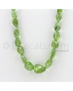 8.50 to 17.00 mm - 1 Line - Peridot Smooth Tumbled Beads - 21 inches (PSTu1007)