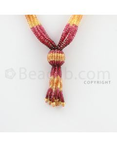 3.00 to 3.50 mm - 5 Lines - Spinel, Yellow Sapphire Faceted Beads Necklace - 18 inches (CSNKL1059)