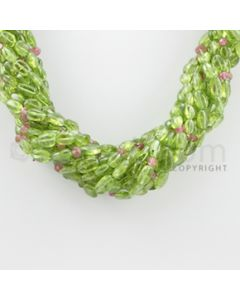 6.00 to 13.00 mm - 12 Lines - Peridot, Tourmaline Tumbled Beads Necklace - 17 inches (CSNKL1062)